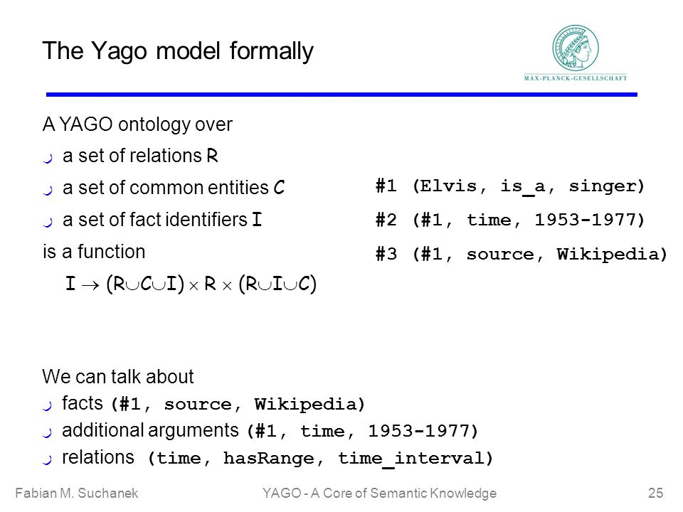 Fabian M. SuchanekYAGO - A Core of Semantic Knowledge 25 The Yago model formally A YAGO ontology over ر a set of relations R ر a set of common entitie