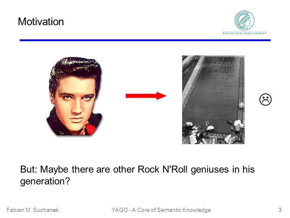 Fabian M. SuchanekYAGO - A Core of Semantic Knowledge 3 Motivation But: Maybe there are other Rock N'Roll geniuses in his generation?