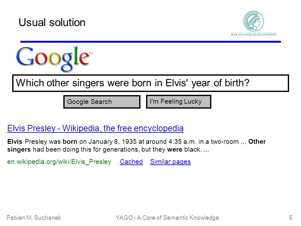 Fabian M. SuchanekYAGO - A Core of Semantic Knowledge 5 Usual solution Which other singers were born in Elvis' year of birth? Google Search I'm Feelin