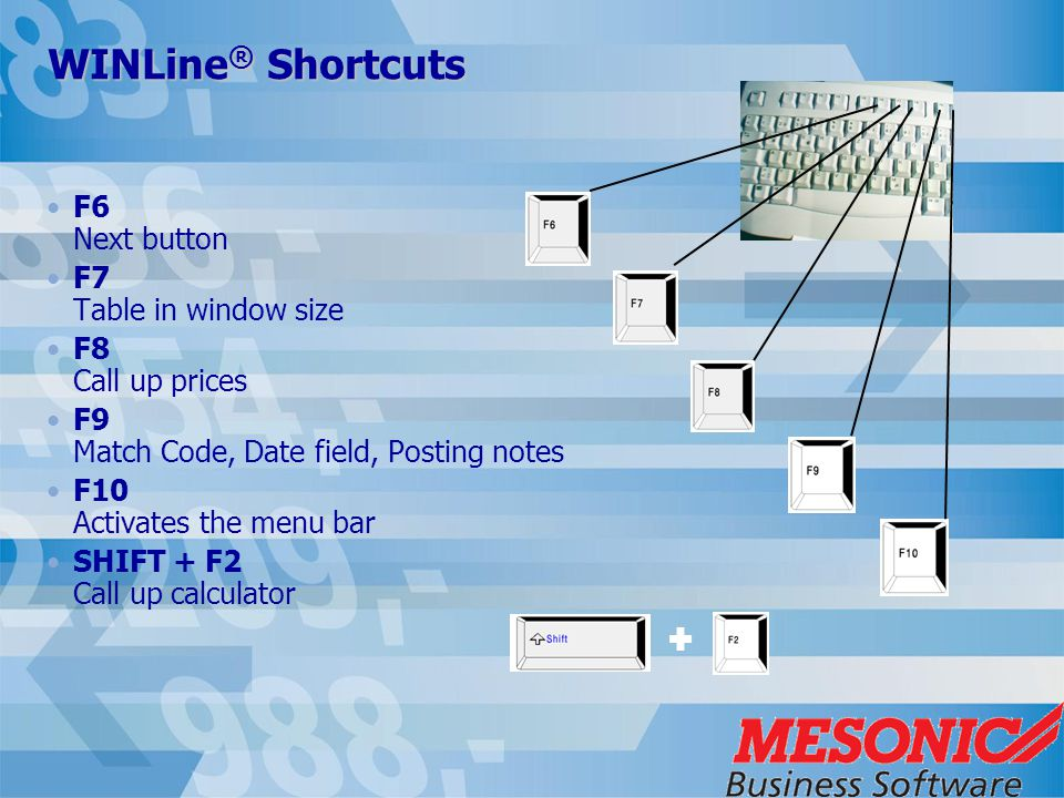 WINLine ® Shortcuts F6 Next button F7 Table in window size F8 Call up prices F9 Match Code, Date field, Posting notes F10 Activates the menu bar SHIFT + F2 Call up calculator