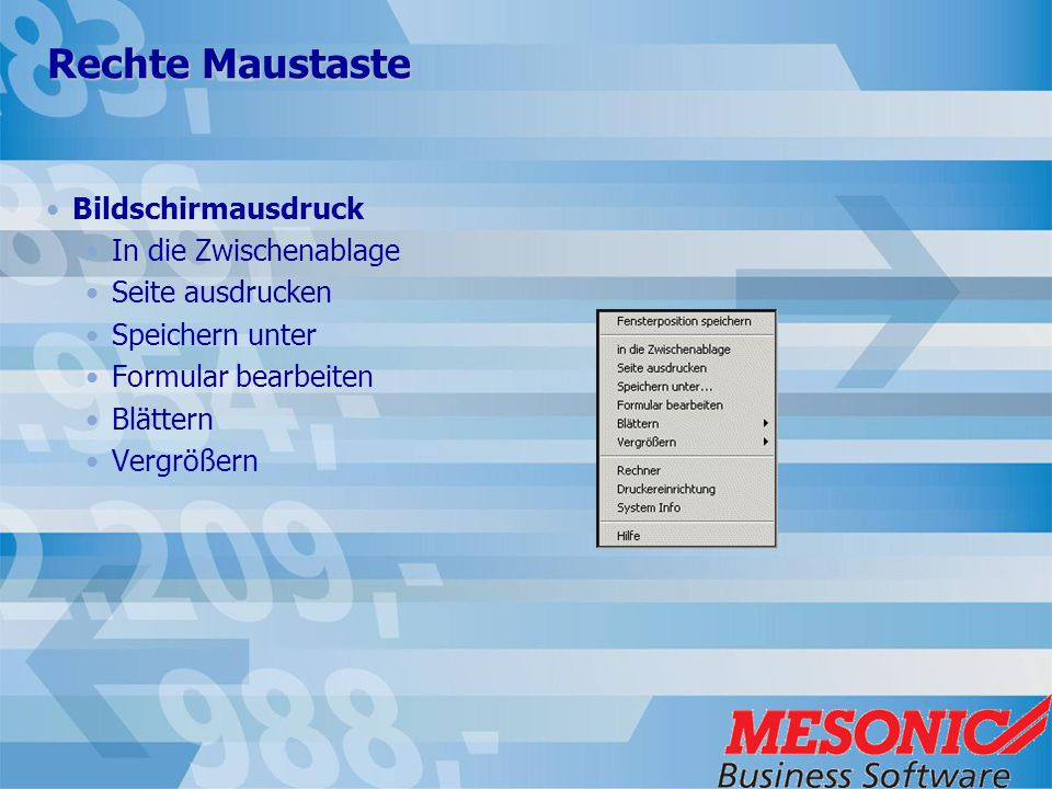 Rechte Maustaste Bildschirmausdruck In die Zwischenablage Seite ausdrucken Speichern unter Formular bearbeiten Blättern Vergrößern
