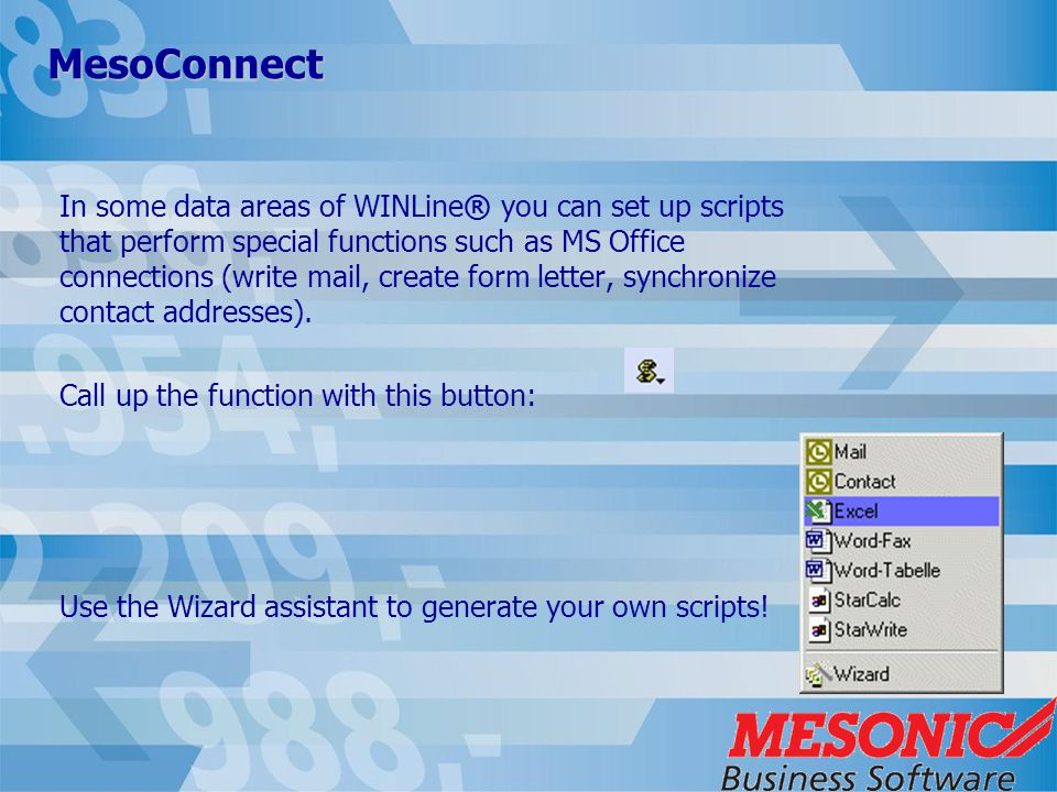 MesoConnect In some data areas of WINLine® you can set up scripts that perform special functions such as MS Office connections (write mail, create form letter, synchronize contact addresses).