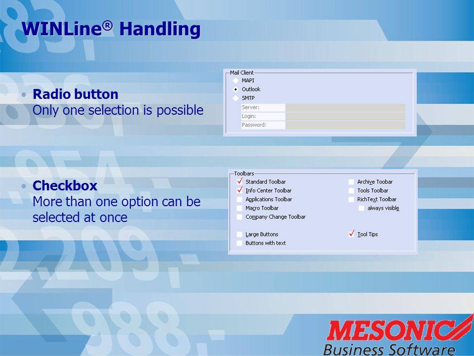 WINLine ® Handling Radio button Only one selection is possible Checkbox More than one option can be selected at once