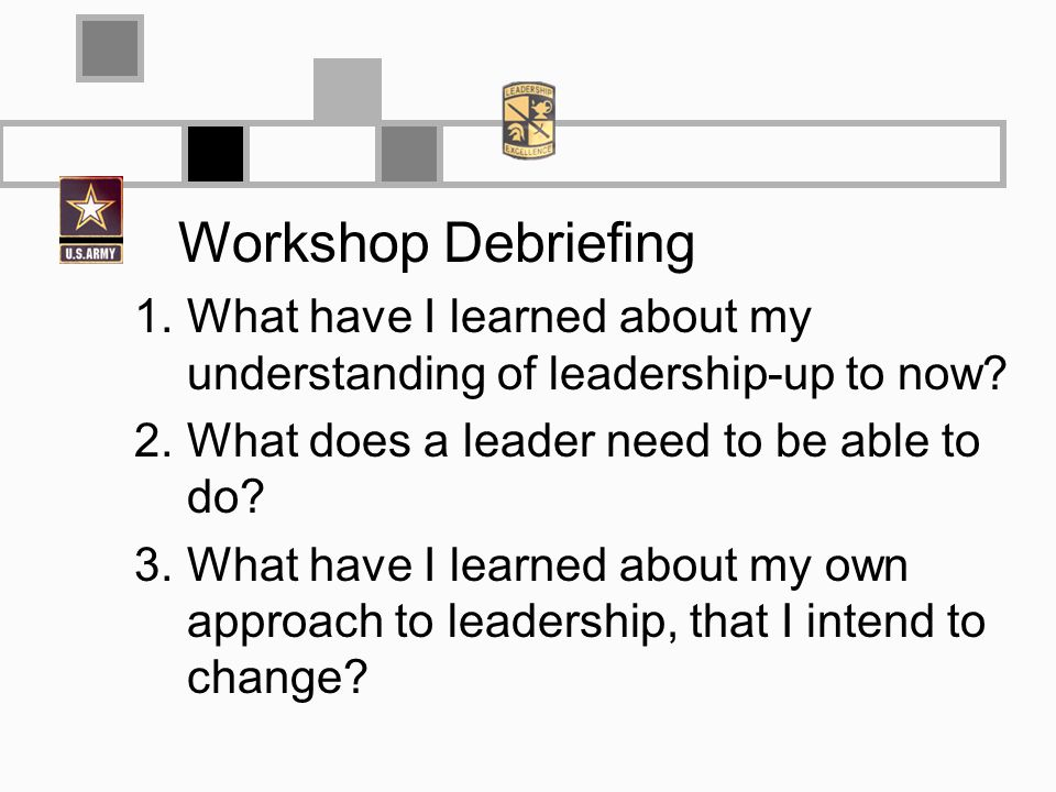 Workshop Debriefing 1.What have I learned about my understanding of leadership-up to now? 2.What does a leader need to be able to do? 3.What have I le