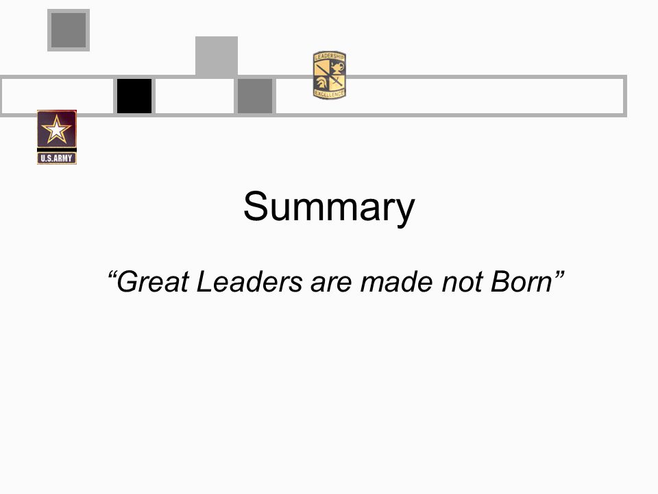 Summary Great Leaders are made not Born