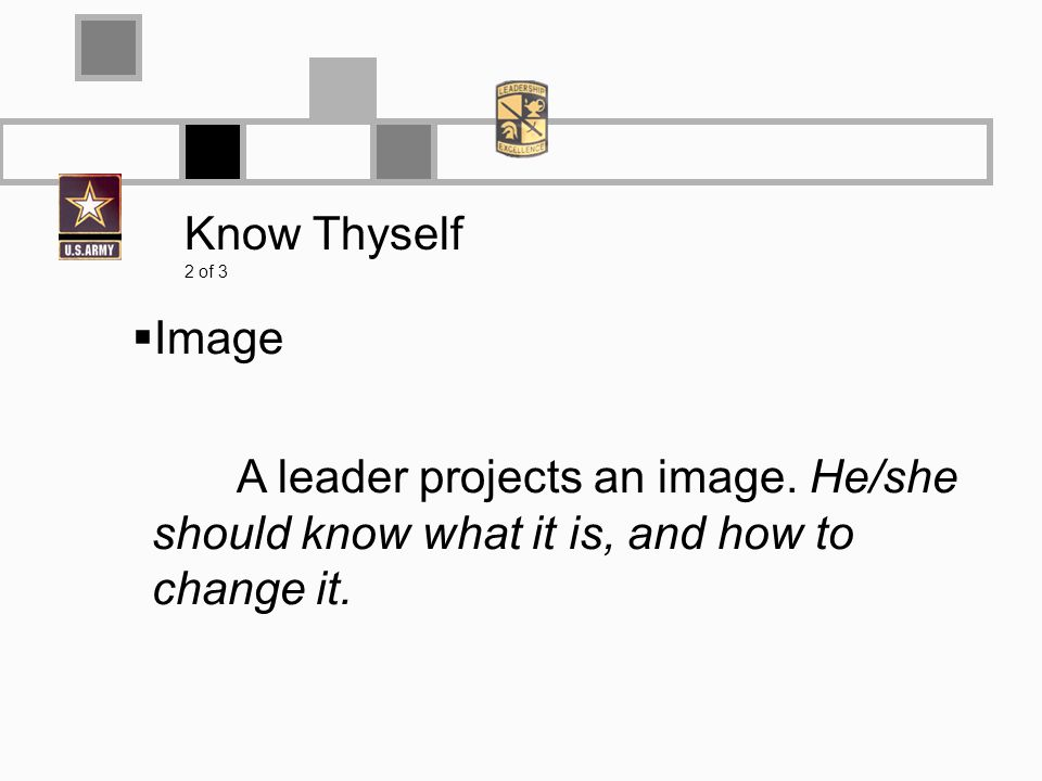 Know Thyself 2 of 3 Image A leader projects an image.