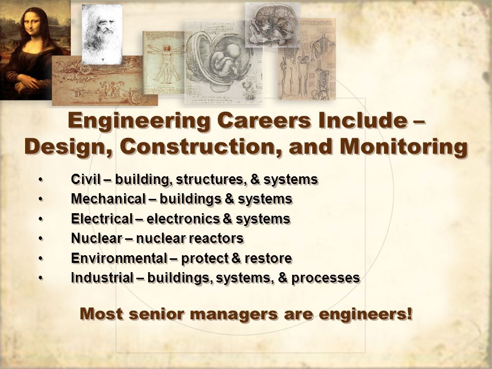 Scientist & Science Professional Careers Include – Chemist – operate & monitor systems Health Physicist – radiation protection – monitor & protect workers and public Biologist – study, monitor & protect the environment Geologist – study & monitor for new & existing plants & dams Hydrologist – study & monitor for new & existing plants & dams Meteorologist – monitor & predict Industrial Hygienists – monitor & protect workers Emergency Planners – design & monitor response to problems & weather Chemist – operate & monitor systems Health Physicist – radiation protection – monitor & protect workers and public Biologist – study, monitor & protect the environment Geologist – study & monitor for new & existing plants & dams Hydrologist – study & monitor for new & existing plants & dams Meteorologist – monitor & predict Industrial Hygienists – monitor & protect workers Emergency Planners – design & monitor response to problems & weather