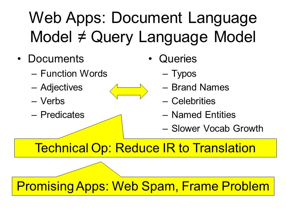 Web Apps: Document Language Model Query Language Model Documents –Function Words –Adjectives –Verbs –Predicates Queries –Typos –Brand Names –Celebriti