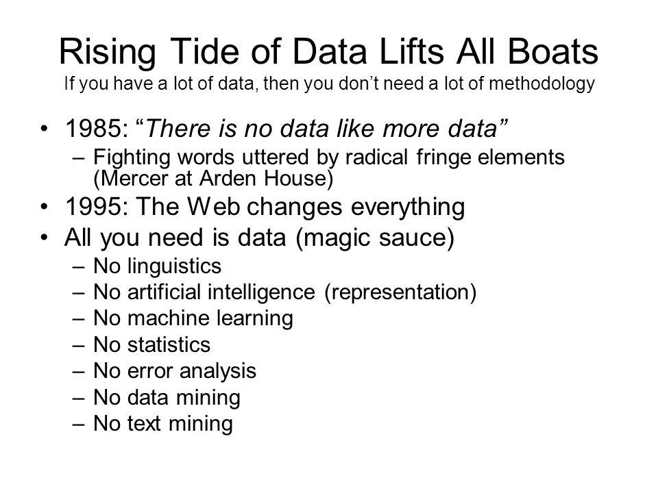 Rising Tide of Data Lifts All Boats If you have a lot of data, then you dont need a lot of methodology 1985: There is no data like more data –Fighting