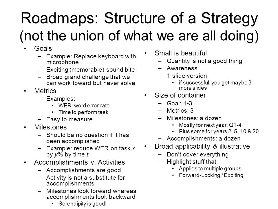 Roadmaps: Structure of a Strategy (not the union of what we are all doing) Goals –Example: Replace keyboard with microphone –Exciting (memorable) soun