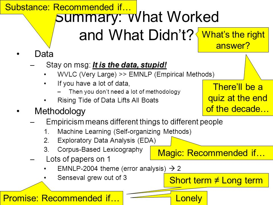 Summary: What Worked and What Didnt? Data It is the data, stupid! –Stay on msg: It is the data, stupid! WVLC (Very Large) >> EMNLP (Empirical Methods)