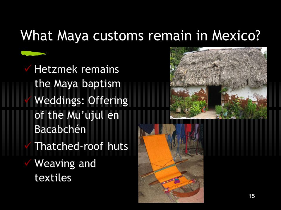 15 What Maya customs remain in Mexico.