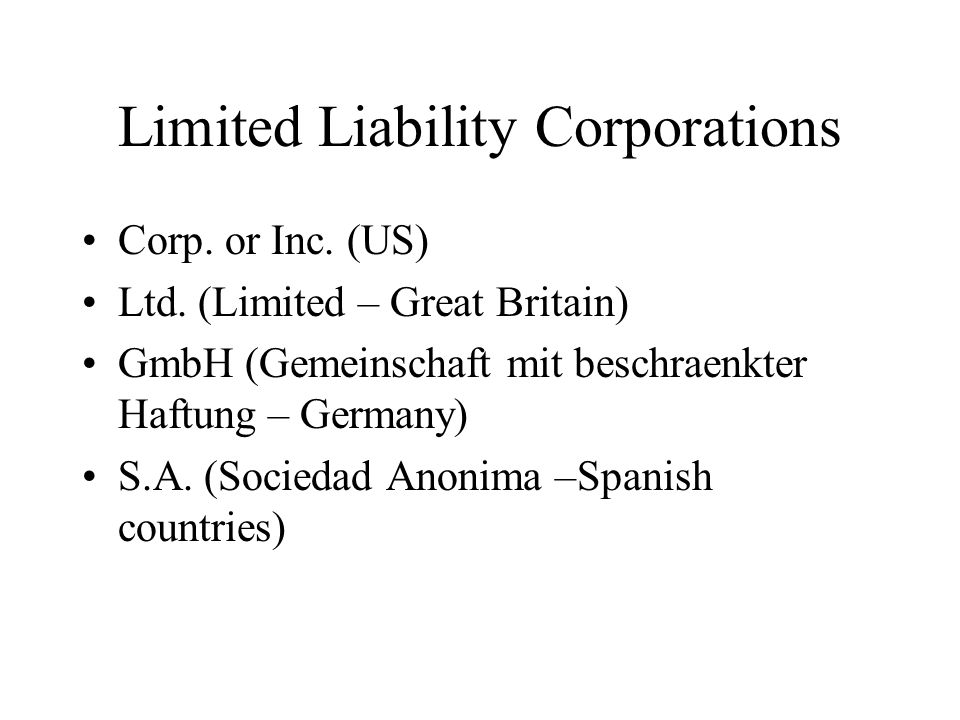 Limited Liability Corporations Corp.or Inc. (US) Ltd.