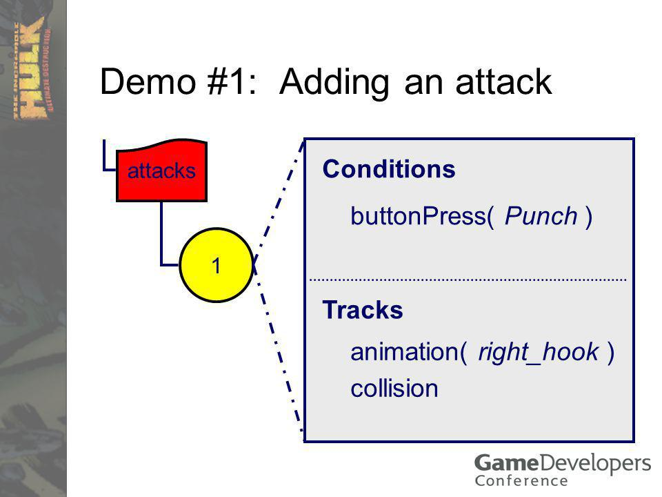 Demo #1: Adding an attack Conditions Tracks collision attacks buttonPress( Punch ) animation( right_hook ) 1