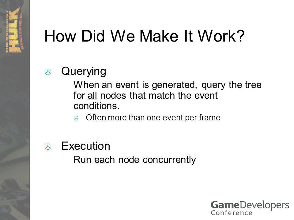 How Did We Make It Work? Querying When an event is generated, query the tree for all nodes that match the event conditions. Often more than one event