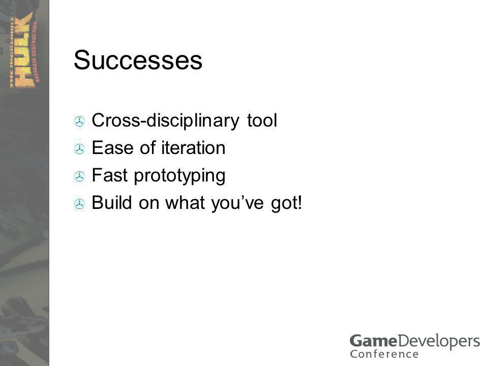 Successes Cross-disciplinary tool Ease of iteration Fast prototyping Build on what youve got!