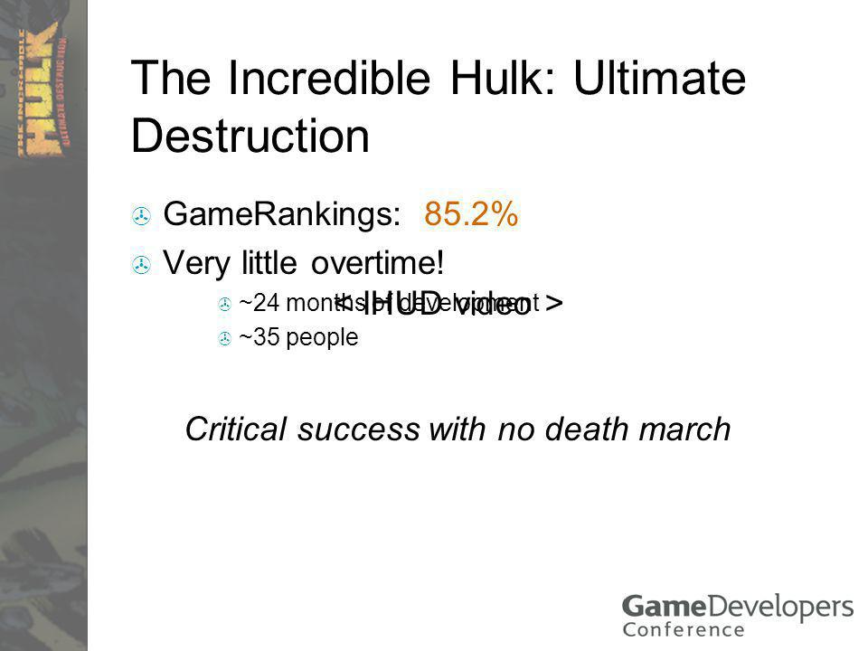 The Incredible Hulk: Ultimate Destruction GameRankings: 85.2% Very little overtime.