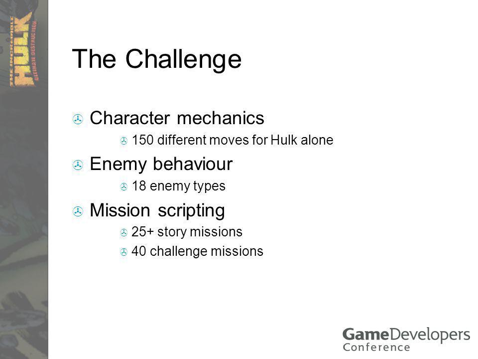 The Challenge Character mechanics 150 different moves for Hulk alone Enemy behaviour 18 enemy types Mission scripting 25+ story missions 40 challenge missions