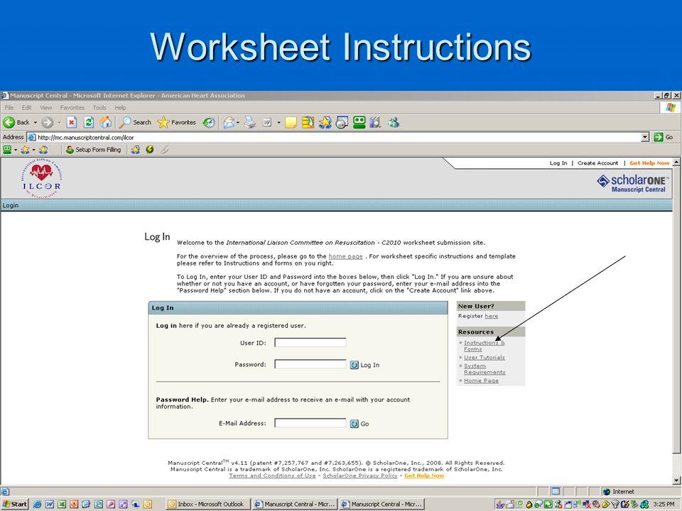 Worksheet Instructions