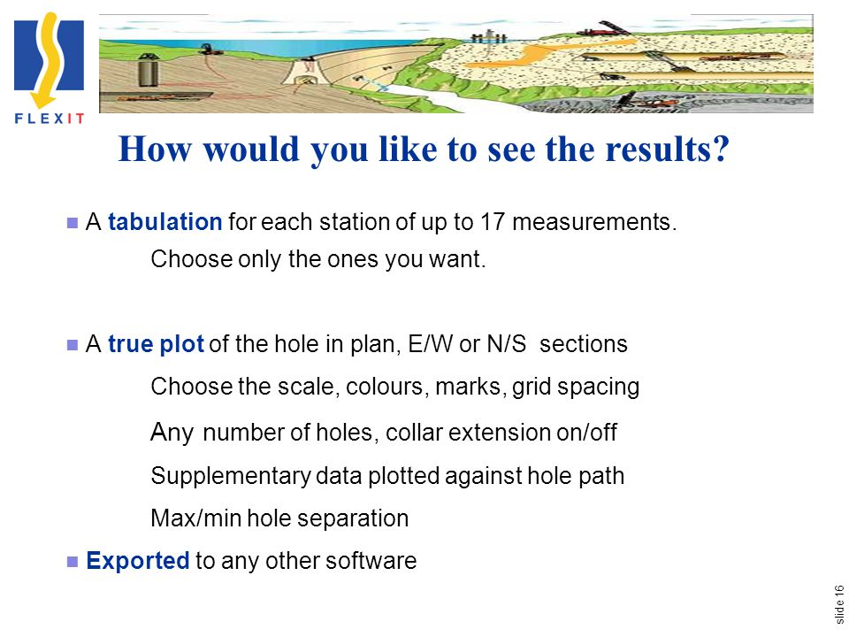 slide 16 A tabulation for each station of up to 17 measurements. Choose only the ones you want. A true plot of the hole in plan, E/W or N/S sections C
