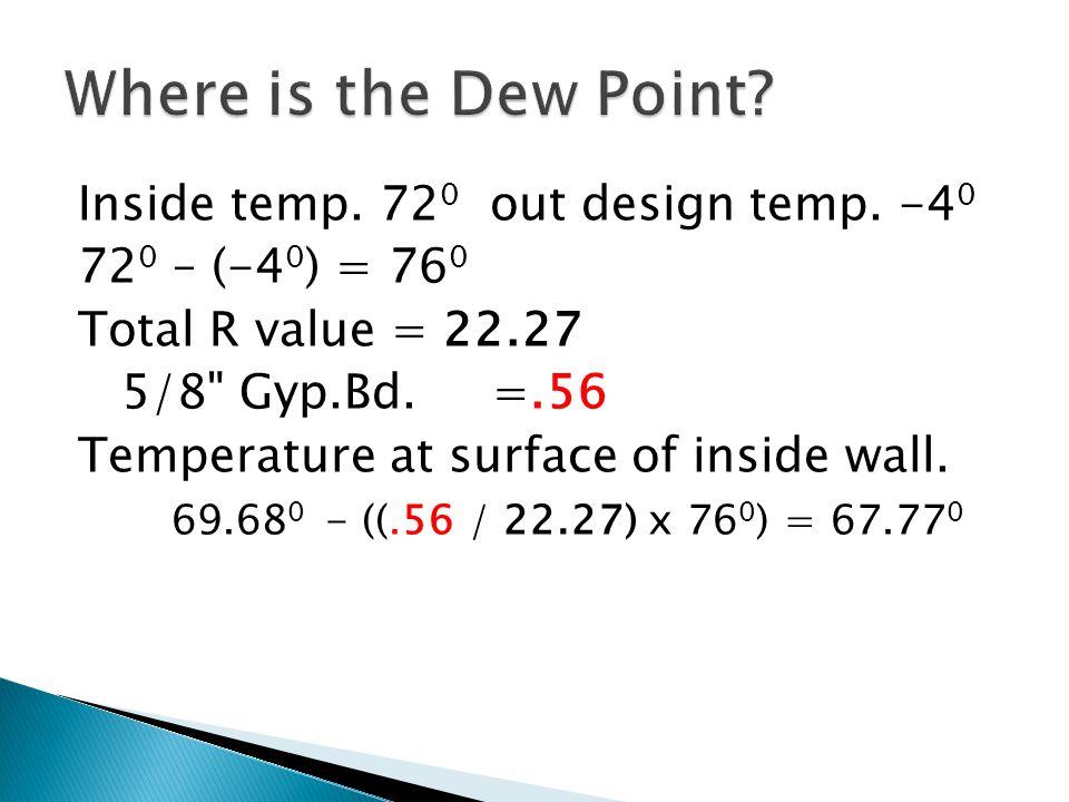 Inside temp. 72 0 out design temp.