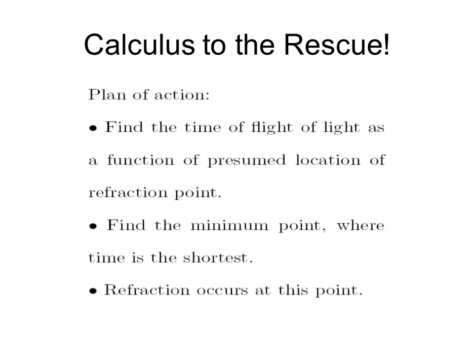 Calculus to the Rescue!