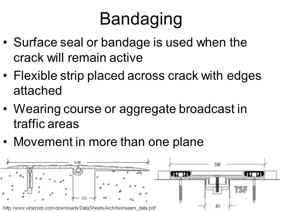 Bandaging Surface seal or bandage is used when the crack will remain active Flexible strip placed across crack with edges attached Wearing course or aggregate broadcast in traffic areas Movement in more than one plane http://www.wbacorp.com/downloads/DataSheets/Arch/twinseam_data.pdf