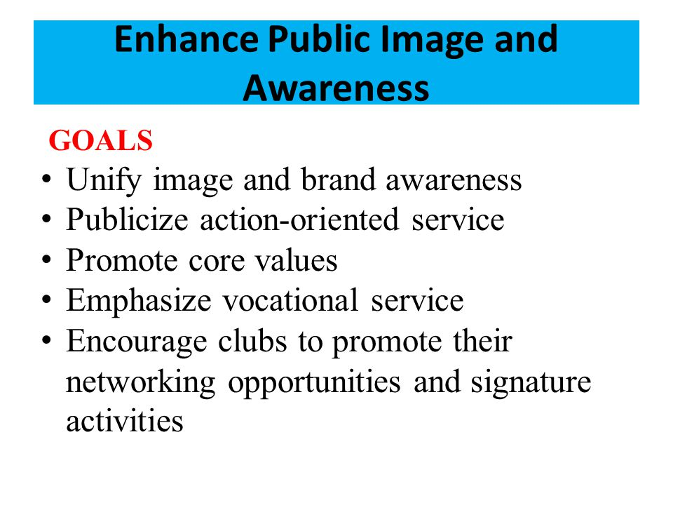 Enhance Public Image and Awareness GOALS Unify image and brand awareness Publicize action-oriented service Promote core values Emphasize vocational service Encourage clubs to promote their networking opportunities and signature activities