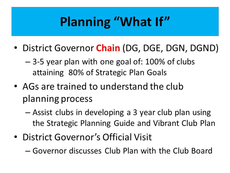 Planning What If District Governor Chain (DG, DGE, DGN, DGND) – 3-5 year plan with one goal of: 100% of clubs attaining 80% of Strategic Plan Goals AGs are trained to understand the club planning process – Assist clubs in developing a 3 year club plan using the Strategic Planning Guide and Vibrant Club Plan District Governors Official Visit – Governor discusses Club Plan with the Club Board