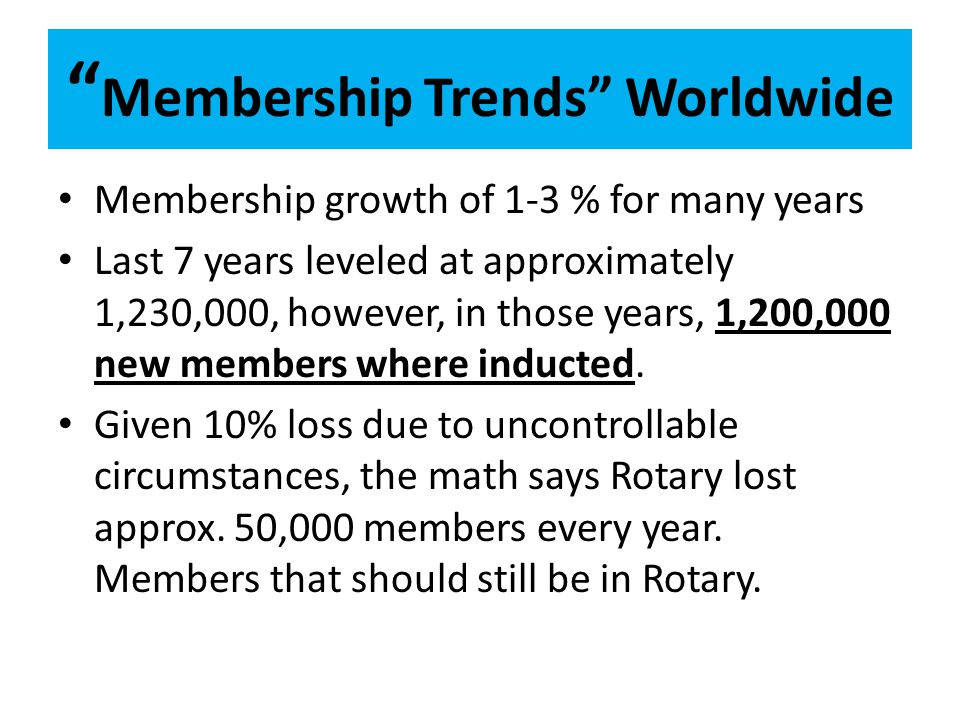 Membership Trends Worldwide Membership growth of 1-3 % for many years Last 7 years leveled at approximately 1,230,000, however, in those years, 1,200,000 new members where inducted.