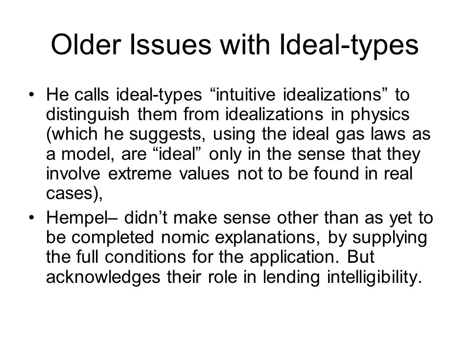 Older Issues with Ideal-types He calls ideal-types intuitive idealizations to distinguish them from idealizations in physics (which he suggests, using