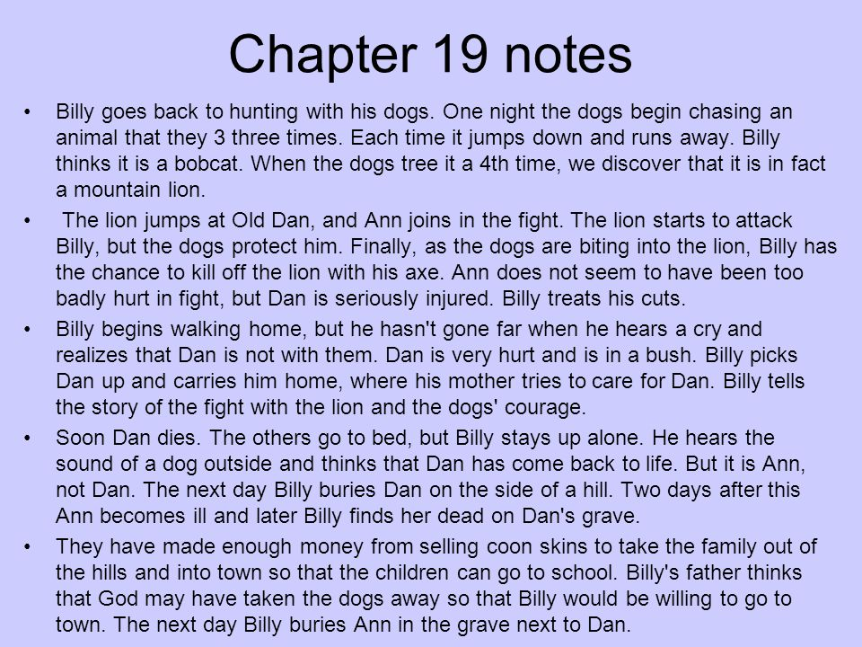 Chapter 19 notes Billy goes back to hunting with his dogs. One night the dogs begin chasing an animal that they 3 three times. Each time it jumps down