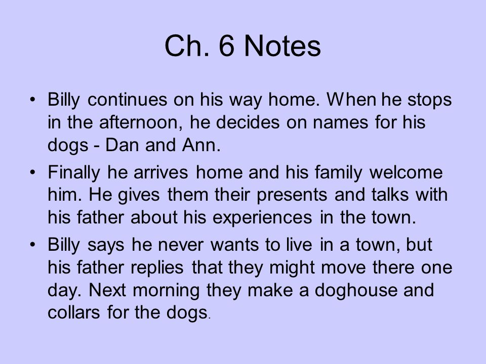 Ch. 6 Notes Billy continues on his way home. When he stops in the afternoon, he decides on names for his dogs - Dan and Ann. Finally he arrives home a