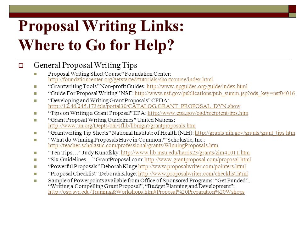 Proposal Writing Links: Where to Go for Help.
