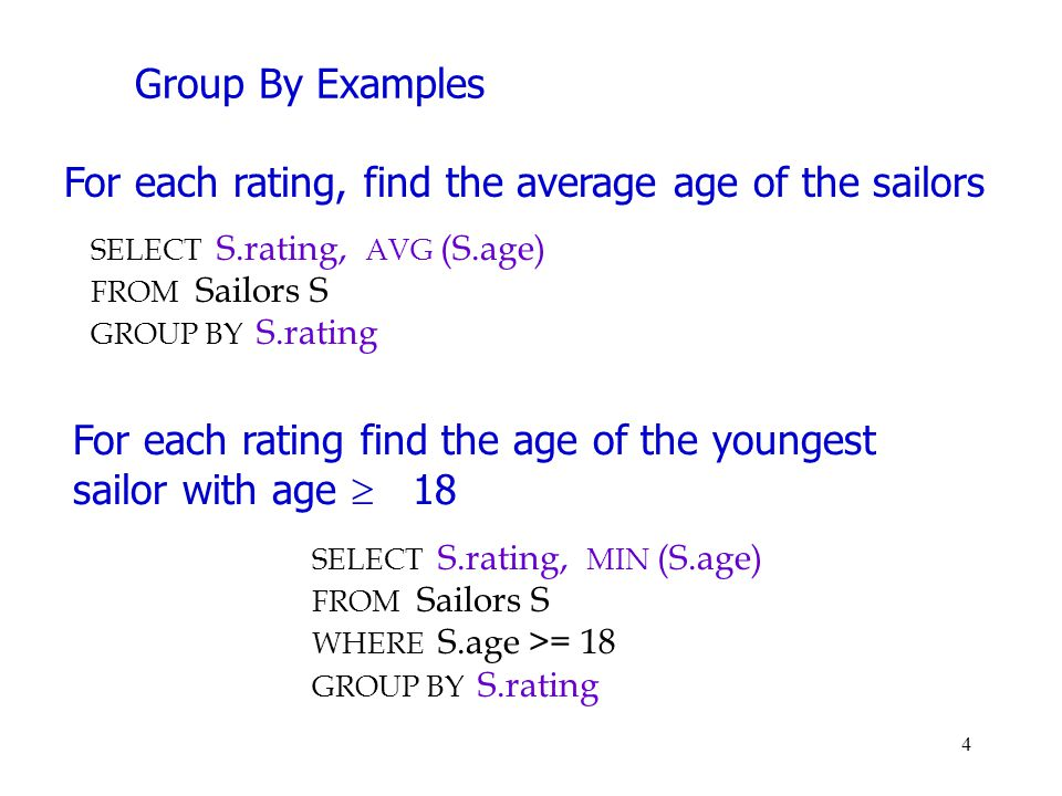 Group By Examples SELECT S.rating, AVG (S.age) FROM Sailors S GROUP BY S.rating For each rating, find the average age of the sailors For each rating f