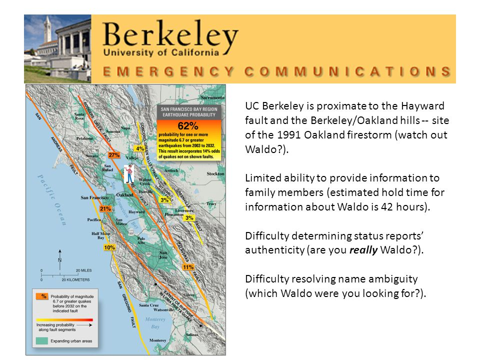 UC Berkeley is proximate to the Hayward fault and the Berkeley/Oakland hills -- site of the 1991 Oakland firestorm (watch out Waldo ).