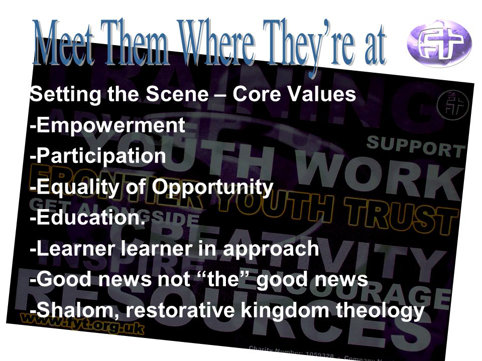 Setting the Scene – Core Values -Empowerment -Participation -Equality of Opportunity -Education.