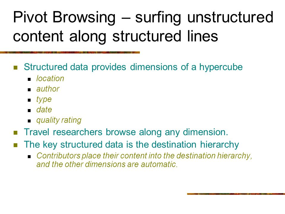 Pivot Browsing – surfing unstructured content along structured lines Structured data provides dimensions of a hypercube location author type date qual