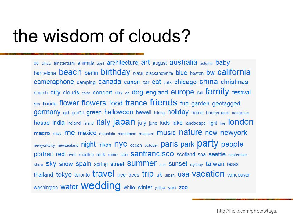 the wisdom of clouds? http://flickr.com/photos/tags/