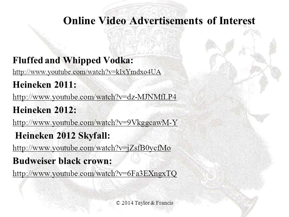 Online Video Advertisements of Interest Fluffed and Whipped Vodka: http://www.youtube.com/watch?v=kIxYmdxo4UA Heineken 2011: http://www.youtube.com/wa