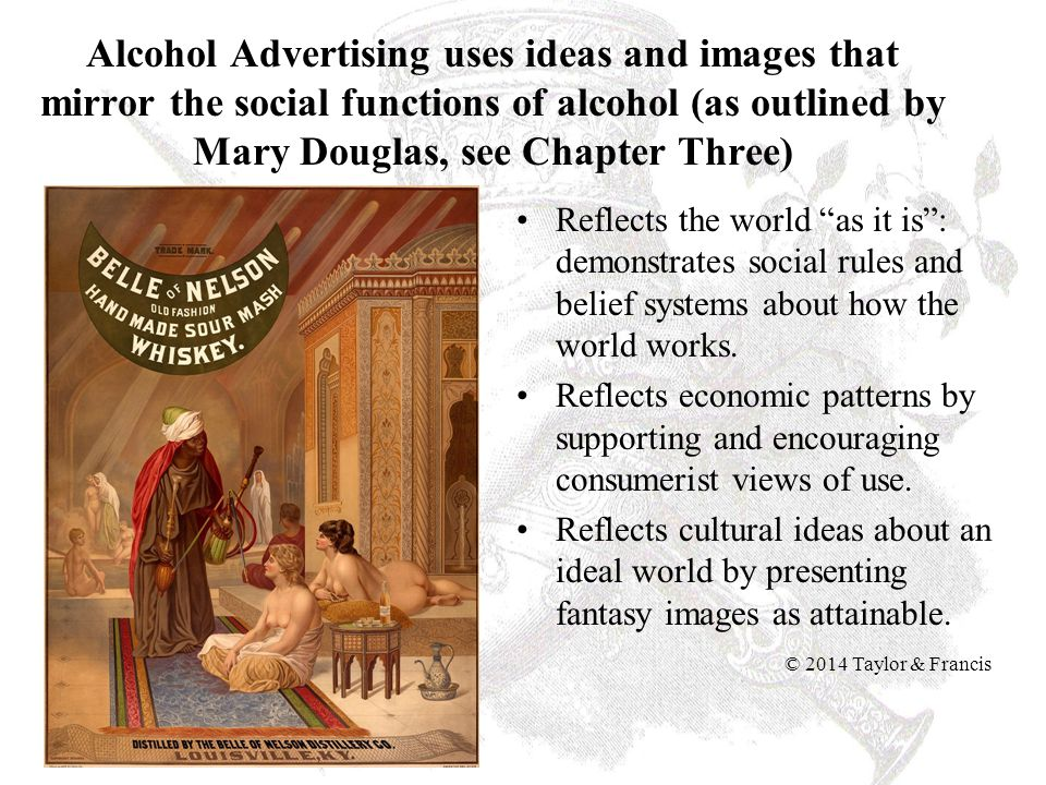 Alcohol Advertising uses ideas and images that mirror the social functions of alcohol (as outlined by Mary Douglas, see Chapter Three) Reflects the wo