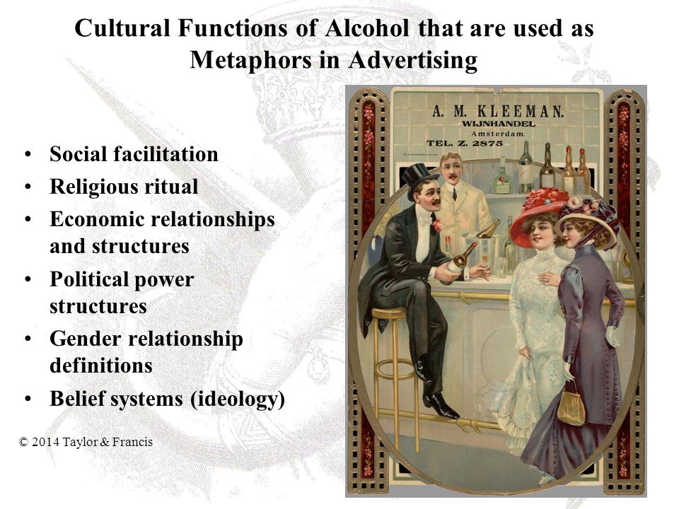 Cultural Functions of Alcohol that are used as Metaphors in Advertising Social facilitation Religious ritual Economic relationships and structures Pol