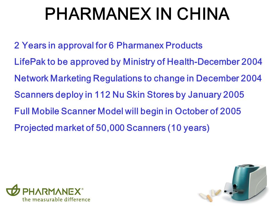 Work Local - Grow Global PHARMANEX IN CHINA 2 Years in approval for 6 Pharmanex Products LifePak to be approved by Ministry of Health-December 2004 Ne