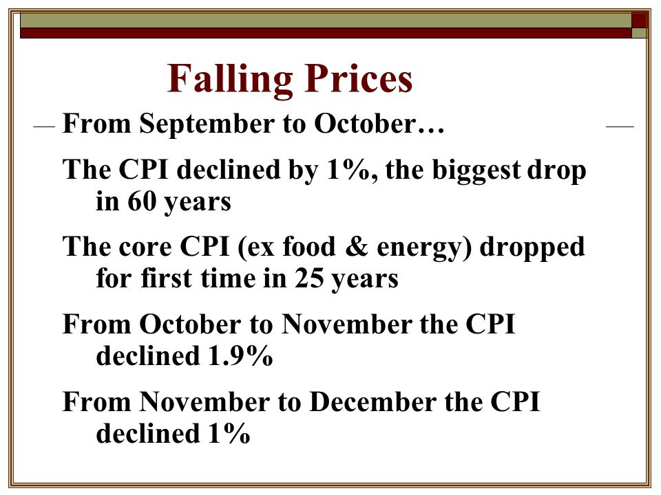 Falling Prices From September to October… The CPI declined by 1%, the biggest drop in 60 years The core CPI (ex food & energy) dropped for first time in 25 years From October to November the CPI declined 1.9% From November to December the CPI declined 1%