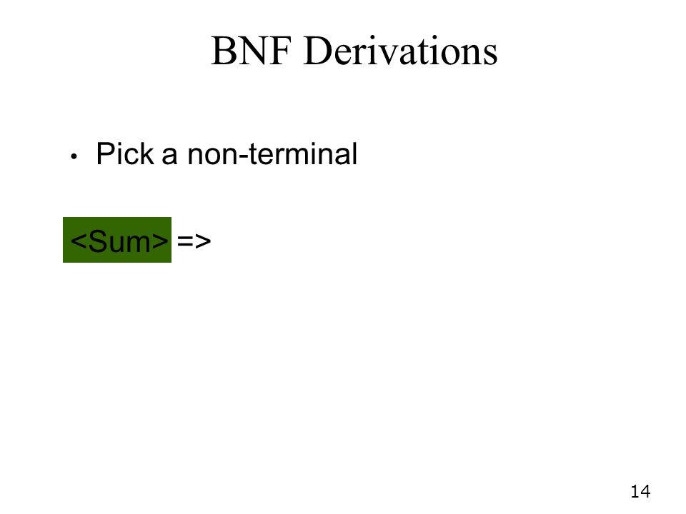14 BNF Derivations Pick a non-terminal =>