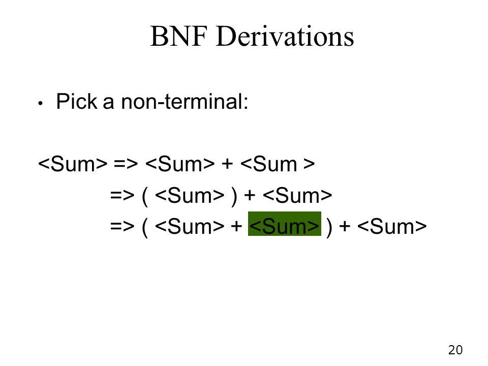 20 Pick a non-terminal: => + => ( ) + => ( + ) + BNF Derivations