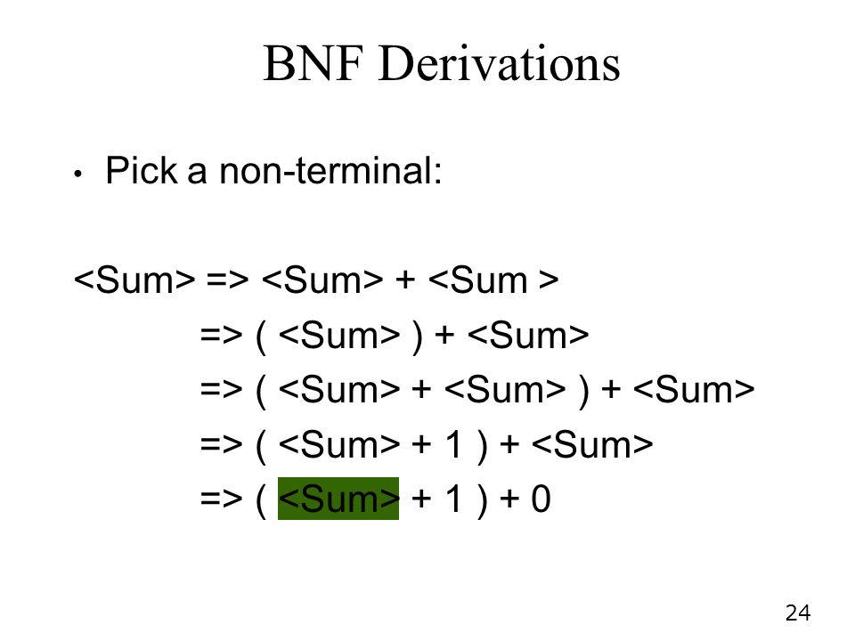 24 Pick a non-terminal: => + => ( ) + => ( + ) + => ( + 1 ) + => ( + 1 ) + 0 BNF Derivations