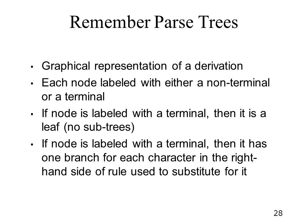 28 Graphical representation of a derivation Each node labeled with either a non-terminal or a terminal If node is labeled with a terminal, then it is a leaf (no sub-trees) If node is labeled with a terminal, then it has one branch for each character in the right- hand side of rule used to substitute for it Remember Parse Trees