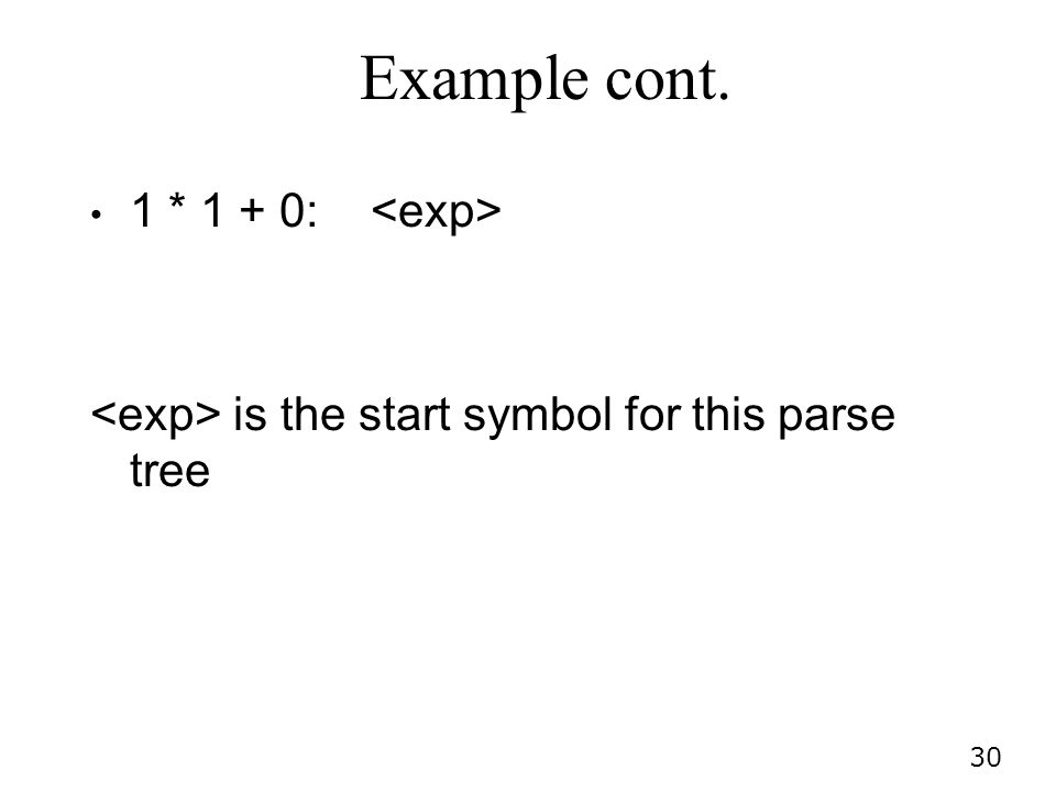 30 Example cont. 1 * 1 + 0: is the start symbol for this parse tree
