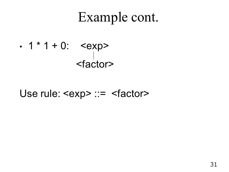 31 Example cont. 1 * 1 + 0: Use rule: ::=